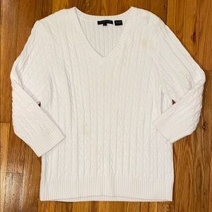 Jeanne Pierre White Cable Knit Sweater